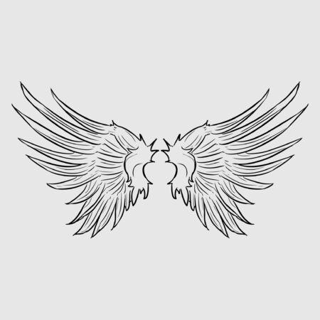 Zwei Flügel des Vogelsymbols im flachen Stil isoliert auf weißem Hintergrund. Vektorgrafik
