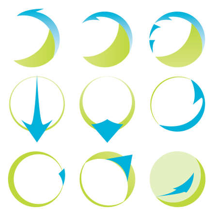 Abstract ribbons and arrows icons collection in white background