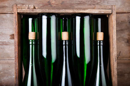 Mosel wine in bottles in wooden Box photo