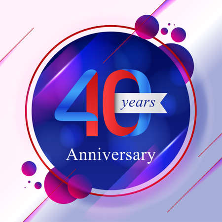 40th Anniversary bokeh background with vibrant colors illustration. Çizim