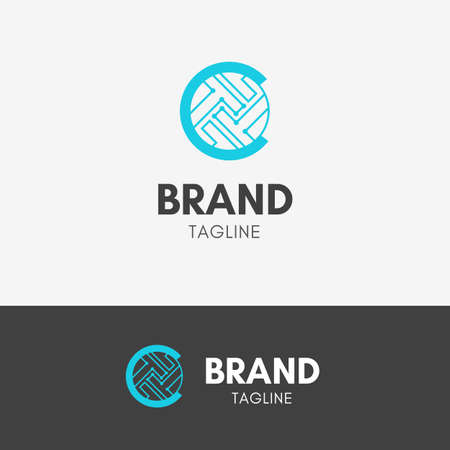 Cryptocurrency Firm Logo template icon symbol with turquoise color