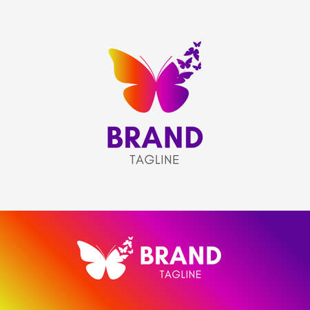 Butterfly Morph logo template icon symbol with vibrant color Illustration