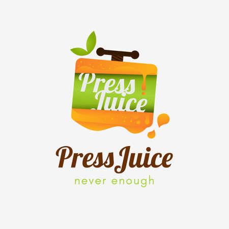 Press Juice Logo template element symbol illustration with orange color