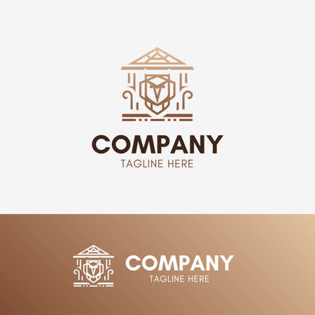 Owl education concept logo template element symbol in luxury color