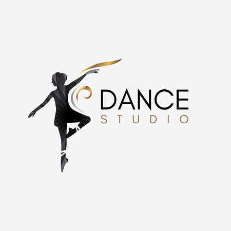 Ballet Dance Studio concept logo template element symbol with luxury gradient color