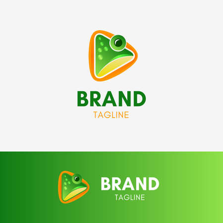 Frog Play Logo template element symbol with green shiny color Иллюстрация