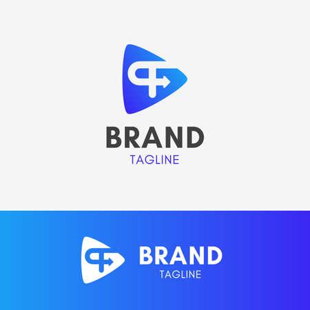 Letter P Playful Logo template element symbol in blue gradient color Ilustração