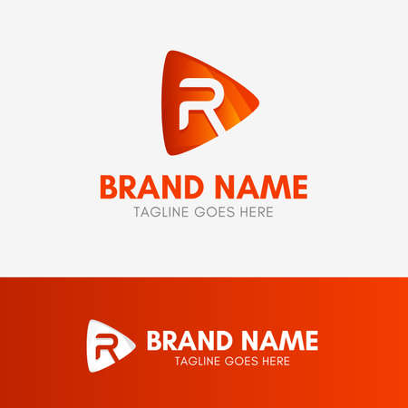 Letter R Play Logo template element symbol in orange color