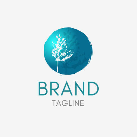 Plant Tree Logo template element symbol in turquoise color