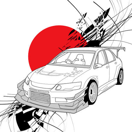 Rally Car Line Art with sun red japan background illustration Ilustração