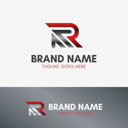 Letter R Up Arrow Logo template element symbol in metal color