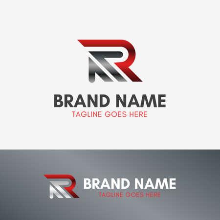 Letter R Up Arrow Logo template element symbol in metal color Logo
