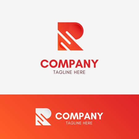 Letter R Three Lines Logo template element symbol in orange color