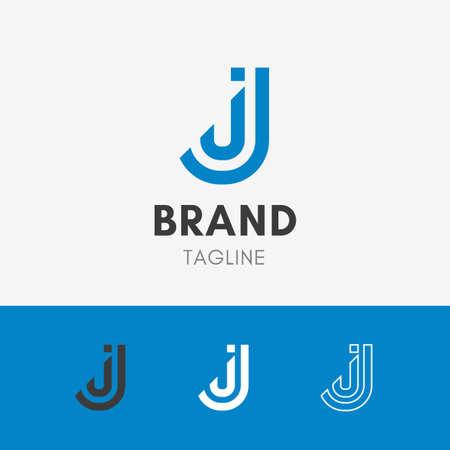 Letter J Line Logo template element symbol in sky blue color