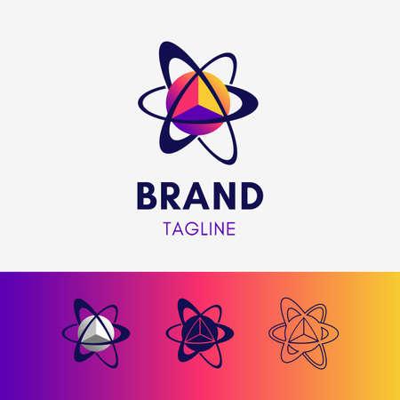 Orbit Planet Triangle Logo template icon symbol in modern gradient multicolor