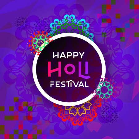 Colorful holi mandala festival template design