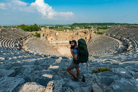 Aksu, Antalya / Turkey. A hiker in Perge (Perga Ancient City) Ancient City and Ruins.