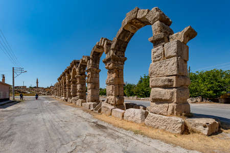 Roman aqueduct in Kemerhisar, ancient Tyana. Kemerhisar, Bor - Nigde / Turkey.