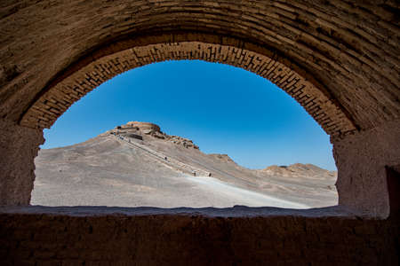 The Temple of Silence in Yazd, Iran. With its winding lanes, forest of badgers, mud-brick houses and delightful places to stay, Yezd is a 'don't miss' destination. Stok Fotoğraf