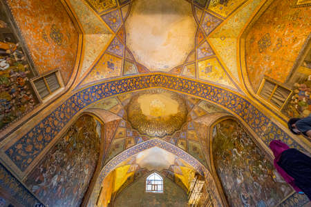 Esfehan - Iran. April 21. 2017. Kakh-e Chehel Sotun.Palace in Isfahan. Built as a pleasure pavilion and reception hall, using the Achaemenid-inspired talar (columnar porch) style.