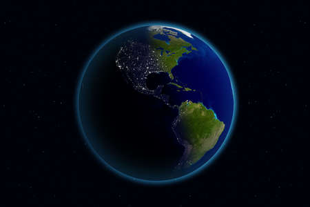 Beautiful Planet Earth. Viewing America day and night.