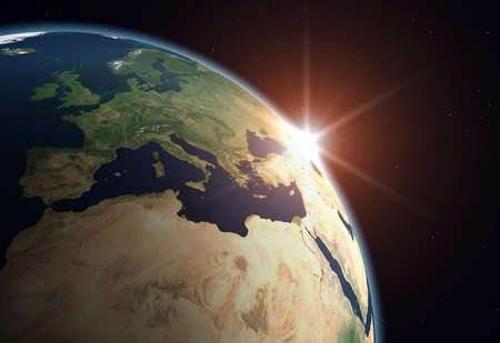 Beautiful Planet Earth. Sun rising over Europe..