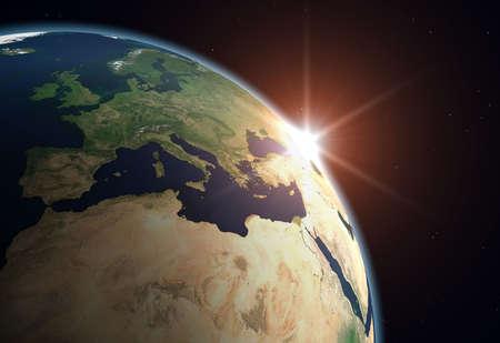 green planet: Belle plan�te Terre. Sun hausse en Europe ..  Banque d'images
