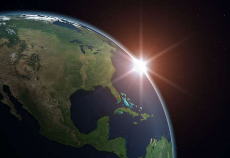 Beautiful Planet Earth. Sun rising over North America.