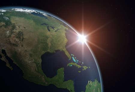 Beautiful Planet Earth. Sun rising over North America.