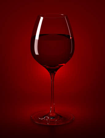 High Resolution rendered wine glass filled with red wine Stock Photo