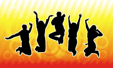 jovenes en grupo: Feliz joven grupo de personas