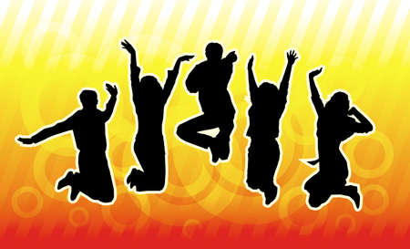 group jumping: Happy young group of people Illustration