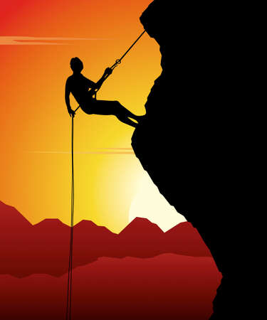 Mountain climber in action while sunset. Vector