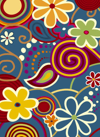 Spring Fever, Colorful flowers and design ornaments Vector