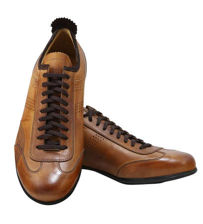Brown leather fashion shoes. Clipping path included. Stock Photo