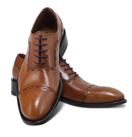 Brown leather executive shoes. Clipping path included. Stock Photo
