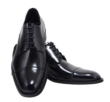 Black leather executive shoes. Clipping path included.
