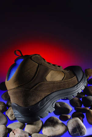 Colorful photo of an adventure boot.