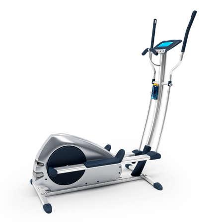 Elíptica bicicleta estacionaria sobre fondo blanco. Aislado, de alta resolución en 3D renderizado.