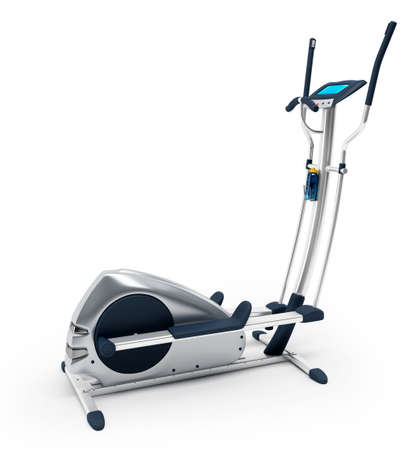 elliptical: Elliptical stationary bicycle over white background. Isolated, high resolution 3D Render.