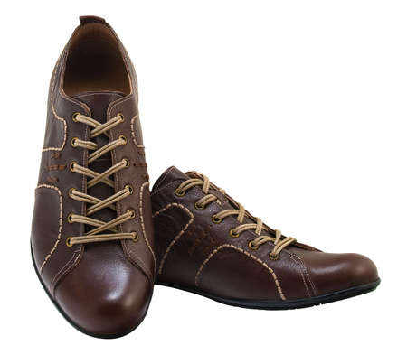 Brown leather fashion shoes.