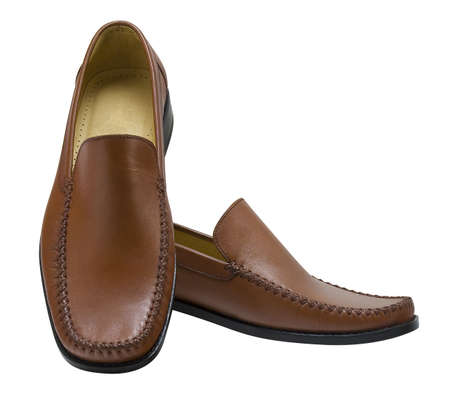 Brown leather sportive shoes.
