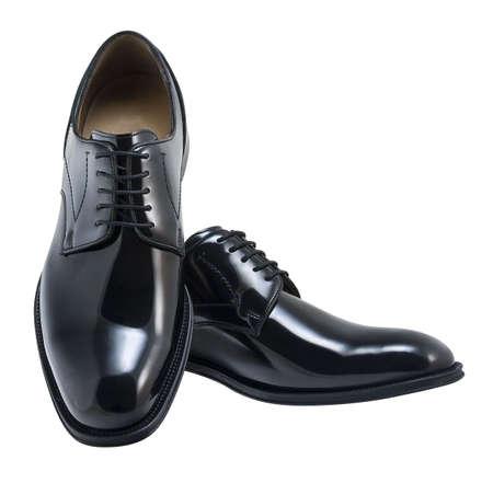 Black leather executive shoes.
