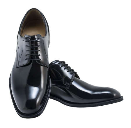 Black leather executive shoes.