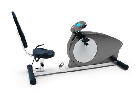 Stationary bicycle over white background. Isolated, high resolution 3D Render.