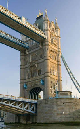 A detail view of Tower Bridge on river Thames.