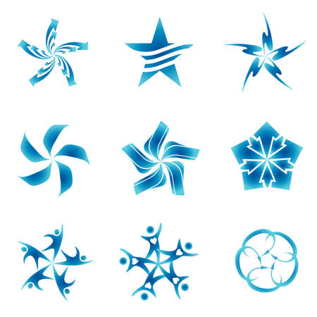 five elements: Set of decorative and creative five corneredpentagonal stars
