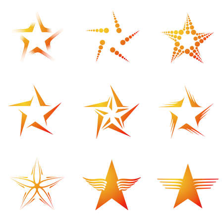 five stars: Set of decorative and creative five corneredpentagonal stars
