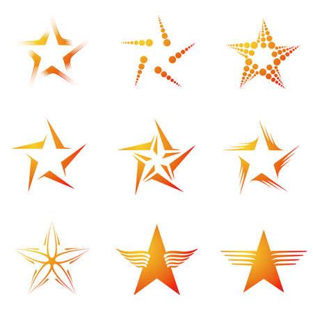ster: Set van decoratieve en creatieve vijf hoek  vijfhoek Sterren Stock Illustratie