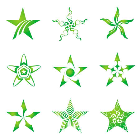 computer vector: Set of decorative and creative five corneredpentagonal stars